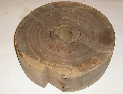 Antique Wood Industrial Foundry Pattern Mold for Pulley - Rustic!