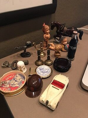 Lot of Smalls mini Coke bottle, horse, pewter, thimble, kewpie, Laich, matchbox