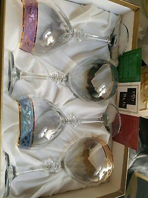 Cristalleria Fratelli Fumo 4 Piece Lot Multi Color Rim Wine Glasses Italy NEW