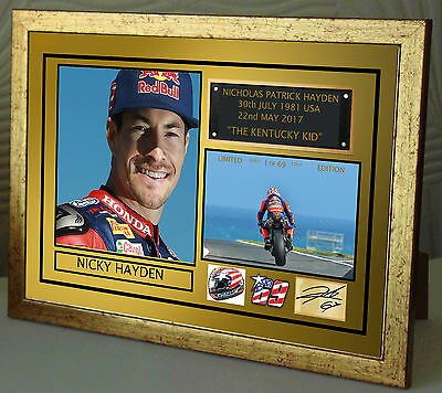 Nicky Hayden Gold Tribute  Framed Canvas Print Signed Limited Edition