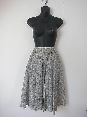 VINTAGE PALE GREY 50's SWING STYLE EMBROIDERED ABSTRACT SQUIGGLE SHAPE SKIRT