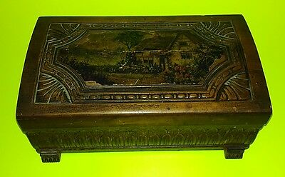 Large Antique Wooden Jewelry / Trinket Box Hinged Solid Wood Image & Dedication