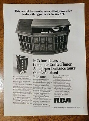 1969 RCA Stereo computer crafted tuner record player 1960's vintage print Ad