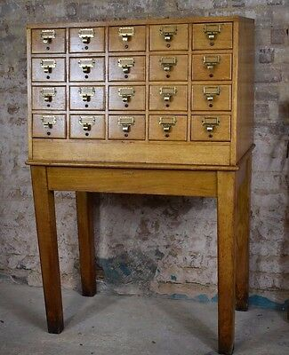 Antique oak library index drawers cabinet index drawers 20th century