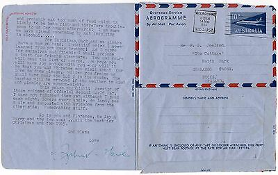 AUSTRALIA OVERSEAS AEROGRAMME 1964 + LONG LETTER re PACIFIC + WORLD AFFAIRS