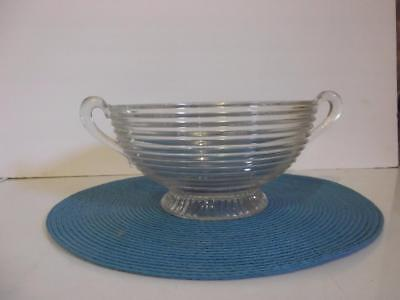 """Clear Anchor Hocking Manhattan Large Footed Fruit Bowl 9.25"""" Two Open Handles"""