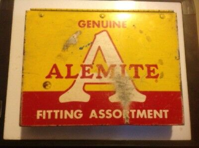 Vintage  Alemite Grease Oil Fittings Gas Station Metal Box Cabinet Sign