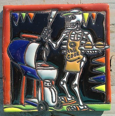"""Talavera Mexican tile Day of the Dead high relief 4"""" Man BBQ cooking hamburgers"""
