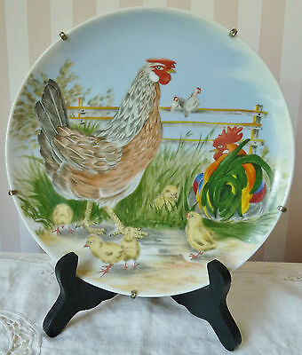 Vintage Made in Japan Chicken Farm Hen Rooster Chicks Scene Decorative Plate
