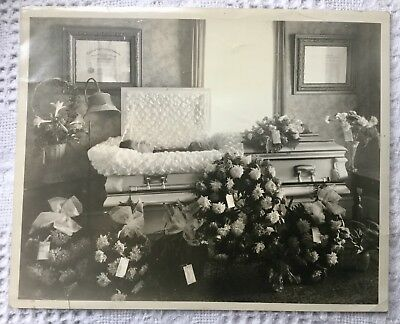 Vintage Post Mortem Photograph Young Man In Casket Embalmers License On Wall