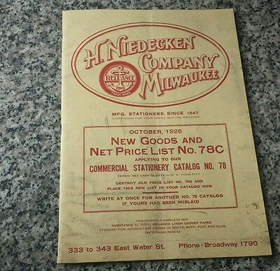 1926 Niedecken Company Milwaukee Wisconsin Stationary Catalog Scales Flags Bank