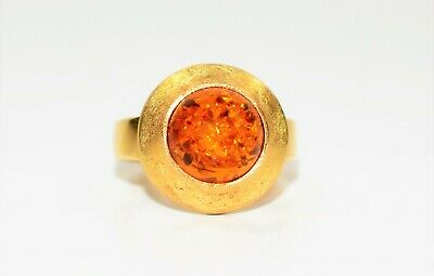 Fiery Italian Amber 14kt Yellow Gold Ring