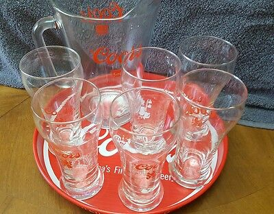 Coors Banquet Vintage Classic Glass Beer Pitcher  Set with 6 Glasses & Tray Rare