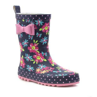 Wellygogs - Wellygog Girls Navy Bow Floral Welly - Sizes 8,9,10,11,12,13,1,2,3