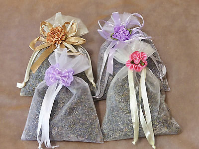 4 Large Dried Lavender Organza Bags ~ Great to store with your fresh linens ~