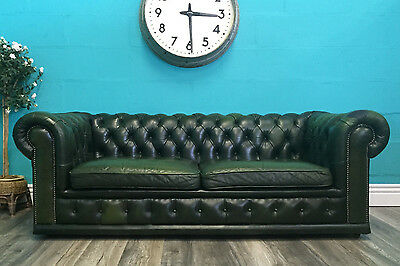 Vintage Old Superior Quality Leather Green Three Seater Chesterfield Sofa