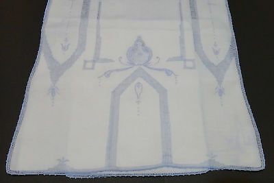 Vintage Madeira Blue Embroidery Linen Table Runner 2 Napkins  Delicate Hand Work