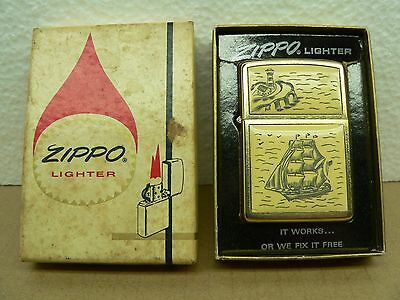 Vintage Gold Zippo Scrimshaw Lighthouse Ship Lighter 1977 Unfired Original Box