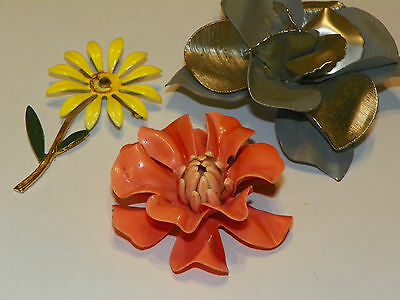 Vintage Flower Lot of Metal & Celluloid Brooch Pin for Crafting or Repair