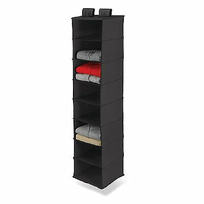 8-Shelf Hanging Organizer Closet Rod Black Fabric Storage Pant Bag Clothes New&