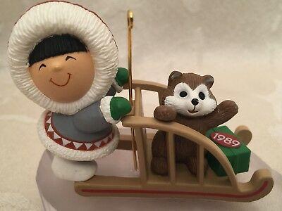 Hallmark Frosty Friends 1989 Sled Christmas Ornament 10th In Series