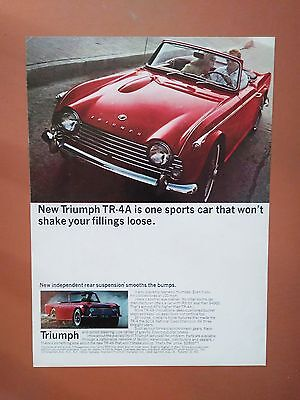 1965 Triumph TR-4A Red Car Vintage photo print ad