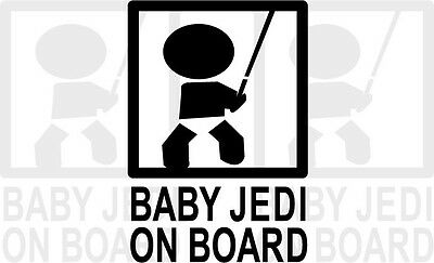 Baby Jedi On Board Graphic Decal Car Vehicle Black