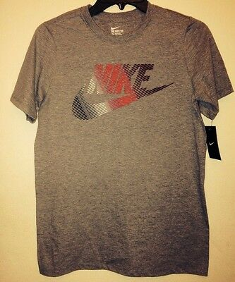 New Nike Youth Boys Cotton Graphic Gray Short Sleeve T-Shirt Tee Size: Large
