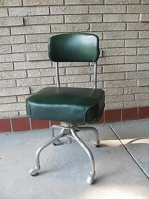 Vintage Steelcase Rolling Chair Steel and Green Vinyl Adjustable Labeled - #1