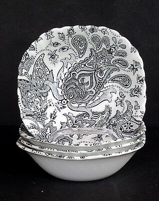 Johnson Brothers PAISLEY BLACK Four CEREAL Bowls ~ EUC -A