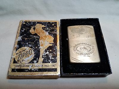 RARE! Old Vintage 1932-1982 COMMEMORATIVE Zippo Lighter w/ADVERTISEMENT w/Box