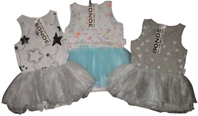 BONDS Baby Girls Dress Tutu Grey White Bodysuit Romper Stars 000 00 0 1 2 NEW