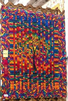 A Happy Tree of Life Wall Hanging/Quilt, more than 100 caged glass beads sewn on