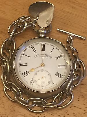 """Antique Of 1850/60's """"I G GRAVES SHEFFIELD"""" Solid Silver Pocket Watch With Chain"""