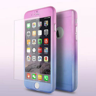 Hybrid 360° Hard Ultra thin Case + Tempered Glass Cover For Apple iPhone 6 6s