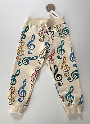 Mini Rodini CLEF Pant Sweatpants in Off White  Size 92/98 - NEW