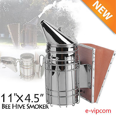 New Bee Hive Smoker Stainless Steel w/Heat Shield Beekeeping Equipment LY