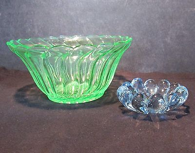 Vintage 1950's small GREEN & BLUE Glass Bowls