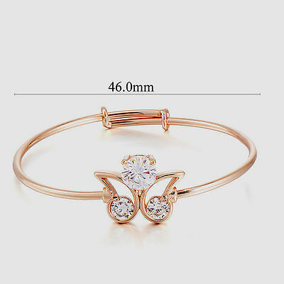 10K Yellow Gold Filled GF Adjustable CZ Butterfly Child Bangle Bracelet 46mm D
