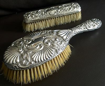 Antique Victorian Patented & Hallmarked English Sterling Silver Hand Brush Set