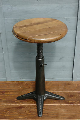 Genuine Professionally Refurbished Antique Singer Cast Iron Stool Chair