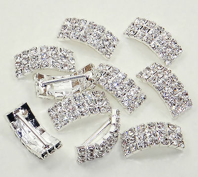 10 X Diamante Silver Wedding Invitation Buckles Ribbon Slider decoration party