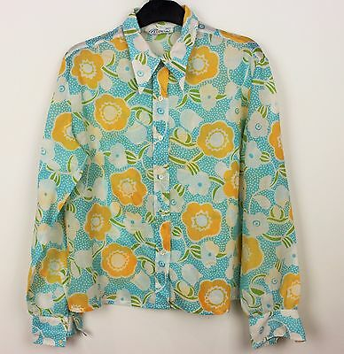 VINTAGE LADIES FLORAL ELAMOD BLOUSE TOP DAGGER POINTED COLLAR 60s/70s PARTY WEAR