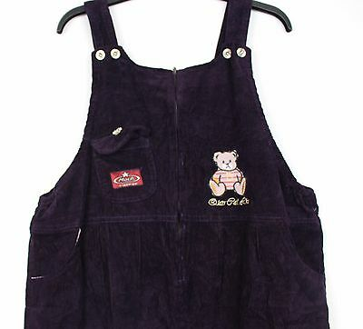 New / Ladies Oversized Purple Corduroy Festival 3/4 Length Dungarees  Playsuit