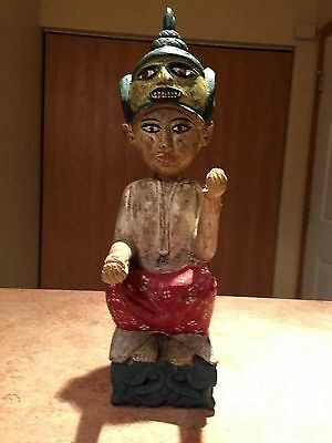 Antique Burmese Seated Female With Mask Figure Wood Carving Artifact