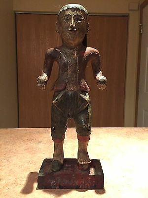 Antique Burmese Standing Male Figure Wood Carving Artifact