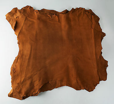 ITALIAN Goat Suede Leather Hide skin, skins hides ORANGE BROWN # 93-2