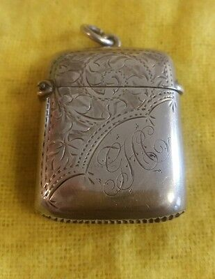 Antique Solid Silver Vesta Case HM Birmingham, Maker T H Hazelwood & Co