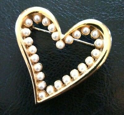 """Vintage Estate Heart Faux Pearl Gold Tone Pin 1 3/4"""" Brooch Large"""