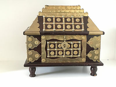 Indian antique reproduction chest wood, brass and decorative metal